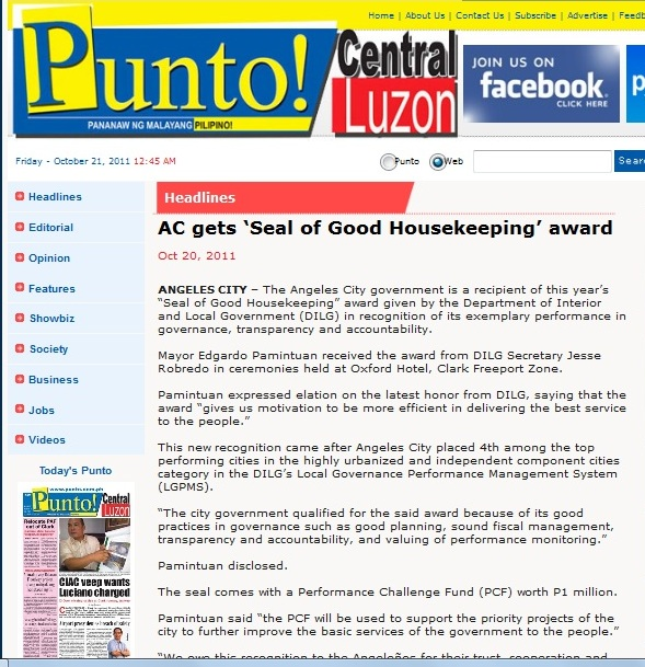 ANGELES CITY AWARD FOR GOOD HOUSEKEEPING